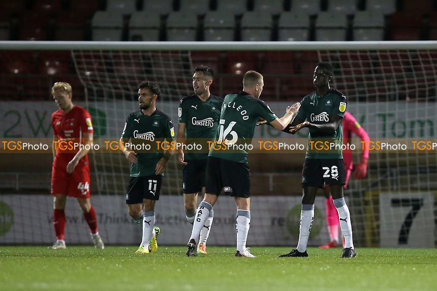 Panutche Camara of Plymouth Argyle scores the first goal for his team and celebrates during Leyton Orient vs Plymouth Argyle, Caraboa Cup Football at The Breyer Group Stadium on 15th September 2020