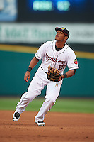 Rochester Red Wings first baseman Reynaldo Rodriguez (23) during a game against the Toledo Mudhens on May 12, 2015 at Frontier Field in Rochester, New York.  Toledo defeated Rochester 8-0.  (Mike Janes/Four Seam Images)
