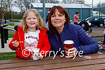 Little Emily Molyneaux enjoying her ice cream with her aunt Bridget Molyneaux in the Listowel town park on Thursday, l to r: Emily and Bridget Molyneaux.