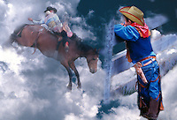 Composite image of a young boy imagining being a bronco rider in the rodeo.