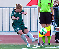 St Louis Athletica midfielder Lori Chalupny (17) curves this corner kick in for her first goal of the season against the FC Gold Pride during a WPS match at Korte Stadium, in Edwardsville, IL, May 9 2009.  Athletica won the match 1-0.