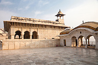 Agra, India.  Agra Fort, Khas Mahal (Private Palace), previously serving as a drawing room or perhaps as the emperor's sleeping quarters.  On the right is one of the two Golden Pavilions that flank the Khas Mahal.