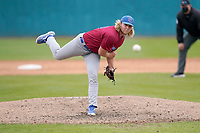 Pitcher Peyton Knight (40) of the Presbyterian College Blue Hose in a game against the University of South Carolina Upstate Spartans on Tuesday, March 23, 2021, at Cleveland S. Harley Park in Spartanburg, South Carolina. (Tom Priddy/Four Seam Images)