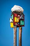 Austria, Tyrol: coloured birdhouses capped with snow | Oesterreich, Tiro: bunte Vogelhaeuser mit Schneehaube