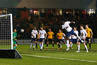 Robbie Willmott of Newport County's free kick flies into the hands of Michel Vorm of Tottenham Hotspur during  the Fly Emirates FA Cup Fourth Round match between Newport County and Tottenham Hotspur at Rodney Parade, Newport, Wales, UK. Saturday 27 January 2018
