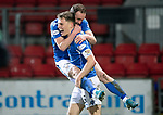 St Johnstone v Motherwell…..12.02.20   McDiarmid Park   SPFL<br />Chris Kane celebrates his goal with Jason Kerr<br />Picture by Graeme Hart.<br />Copyright Perthshire Picture Agency<br />Tel: 01738 623350  Mobile: 07990 594431