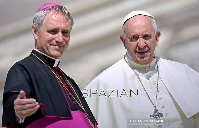Pope Francis Monsignor Georg Gänswein,during his weekly general audience in St. Peter square at the Vatican, Wednesday.August  27, 2014.