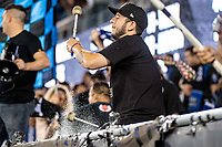 SAN JOSE, CA - AUGUST 17: San Jose Earthquakes fan drummer during a game between San Jose Earthquakes and Minnesota United FC at PayPal Park on August 17, 2021 in San Jose, California.