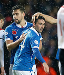 Nicky Clark congratulated by Darren McGregor and a random arm after the fourth goal
