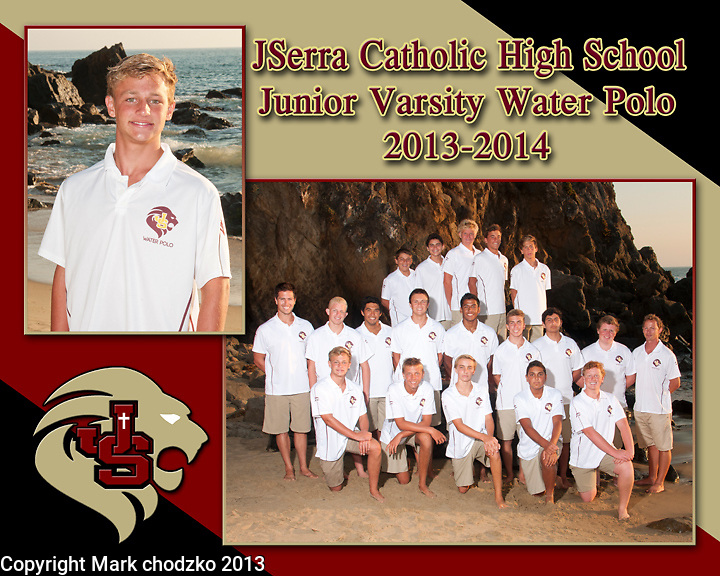Composite photo of the JSerra Catholic High School JV Water Polo Team.