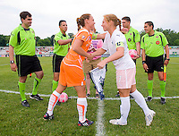 Sky Blue FC defender Christie Rampone (3) and St. Louis Athletica midfielder Lori Chalupny (17) shake hands before their WPS match at Anheuser-Busch Soccer Park, in St. Louis, MO, June 7, 2009. Athletica won the match 1-0.