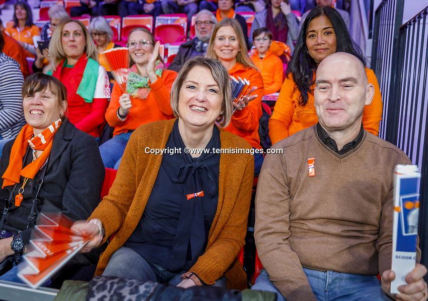The Hague, The Netherlands, Februari 7, 2020,    Sportcampus, FedCup  Netherlands -  Balarus, Dutch fans<br /> Photo: Tennisimages/Henk Koster