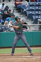 Sean Bouchard (6) of the Boise Hawks bats against the Everett AquaSox at Everett Memorial Stadium on July 20, 2017 in Everett, Washington. Everett defeated Boise, 13-11. (Larry Goren/Four Seam Images)