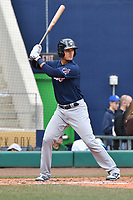 Max Pentecost (7) of the New Hampshire Fisher Cats bats during a game against the Hartford Yard Goats at Dunkin Donuts Park on April 8, 2018 in Hartford, Connecticut.<br /> (Gregory Vasil/Four Seam Images)