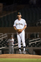 Salt River Rafters relief pitcher Tommy Eveld (33), of the Miami Marlins organization, gets ready to deliver a pitch during an Arizona Fall League game against the Scottsdale Scorpions at Salt River Fields at Talking Stick on October 11, 2018 in Scottsdale, Arizona. Salt River defeated Scottsdale 7-6. (Zachary Lucy/Four Seam Images)