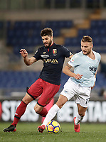 Calcio, Serie A: Lazio - Genoa, Roma, Stadio Olimpico, 5 Febbraio 2018. <br /> Lazio's Ciro Immobile (r) in action with Genoa's Luca Rossettini (l) during the Italian Serie A football match between Lazio and Genoa at Rome's Stadio Olimpico, February 5, 2018.<br /> UPDATE IMAGES PRESS/Isabella Bonotto