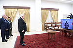 Palestinian President Mahmoud Abbas receives credentials of ambassadors accredited to the State of Palestine via video conference from the Palestinian Embassy in Cairo, on September 16, 2021. Photo by Thaer Ganaim