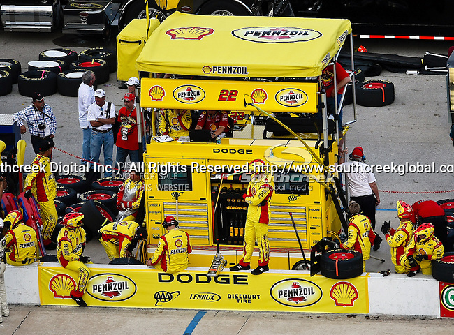 Kurt Busch's, driver of the (22) Shell/Pennzoil Dodge, pit crew awaits him during the Samsung Mobile 500 Sprint Cup race at Texas Motor Speedway in Fort Worth,Texas.