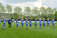 line-up team KAA Gent ( Silke Vanwynsberghe (21) , goalkeeper Nicky Evrard (1) , Rkia Mazrouai (2) , Heleen Jaques (4) , Emma Van Britsom (6) , Lakeesha Eikjken (7) , Chloe Vande Velde (10) , Lyndsey Van Belle (14) , Lore Jacobs (17) , Lobke Loonen (19) , Feli Delacauw (44) ) pictured before a female soccer game between AA Gent Ladies and Oud Heverlee Leuven on the fourth matchday of play off 1 in the 2020 - 2021 season of Belgian Scooore Womens Super League , saturday 1 st of May 2021  in Oostakker , Belgium . PHOTO SPORTPIX.BE | SPP | STIJN AUDOOREN