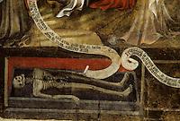 Europe/France/Auvergne/63/Puy-de-Dôme/Ennezat: L'église Saint-Victor (ancienne collégiale Saint-Victor et Sainte Couronne) - Détail peinture à la cire de 1405 représentant le Jugement dernier (1ère travée du collatéral droit) - Détail
