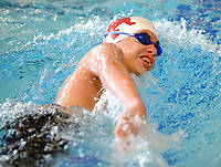 Springdale's Conner Fisher competes Saturday, Feb. 13, 2021, in the 200-yard freestyle during the Class 6A-West Conference Swim Championships at the Jones Center in Springdale. Visit nwaonline.com/210214Daily/ for today's photo gallery. <br /> (NWA Democrat-Gazette/Andy Shupe)