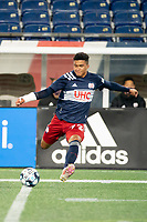 FOXBOROUGH, MA - OCTOBER 16: Damian Rivera #72 of New England Revolution II crosses the ball during a game between North Texas SC and New England Revolution II at Gillette Stadium on October 16, 2020 in Foxborough, Massachusetts.