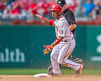 20 September 2015: Washington Nationals catcher Pedro Severino makes his Major League debut, sliding into second with a double against the Miami Marlins at Nationals Park in Washington, DC. The Nationals defeated the Marlins 13-3 to take the final game of their 4-game series. Mandatory Credit: Ed Wolfstein Photo *** RAW (NEF) Image File Available ***