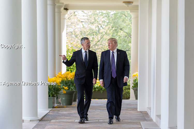 President Donald Trump walks with NATO Secretary General Jens Stolenberg, Wednesday, April 12, 2017, along the Colonnade outside the Oval Office of the White House in Washington, D.C. (Official White House Photo by Shealah Craighead)
