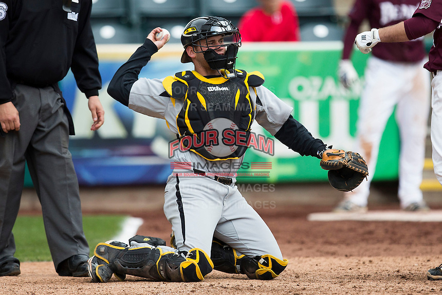 Parker Zimmerman #35 of the Wichita State Shockers throws a ball back to the pitcher during a game against the Missouri State Bears at Hammons Field on May 5, 2013 in Springfield, Missouri. (David Welker/Four Seam Images)