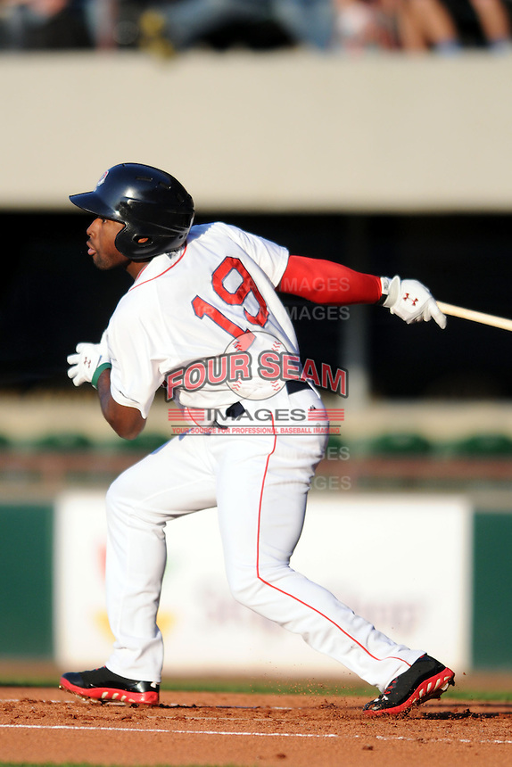 Pawtucket Red Sox outfielder Jackie Bradley Jr. #19 during a game versus the Columbus Clippers at McCoy Stadium in Pawtucket, Rhode Island on April 27, 2013.  (Ken Babbitt/Four Seam Images)