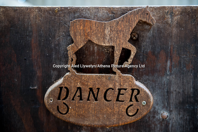 FAO Laura Lean.<br /> Friday 20 January 2017<br /> Pictured: A sign reading dancer on one of the stable doors. <br /> Re: Sue Scourfield's riding school is  being hit by increasing business rates.