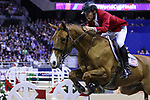 OMAHA, NEBRASKA - APR 1: Karl Cook rides Tembla during the International Omaha Jumping Grand Prix at the CenturyLink Center on April 1, 2017 in Omaha, Nebraska. (Photo by Taylor Pence/Eclipse Sportswire/Getty Images)