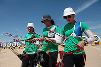 Marina Avitia, Alejandra Valencia,Aida Roman  ,durante su prticipacion con el equipo Mexicano femenil de Tiro con Arco que se llevo la medalla de Oro en la prueba de 70 metros   de el  torneo  Arizona Cup 2013 en  BEN Avery. 6 abril 2013 en Phoenix Arizona......during his prticipacion with Mexican women's team archery that took the gold medal in the 70 meter test the Arizona Cup tournament 2013 in Ben Avery. April 6, 2013 in Phoenix Arizona