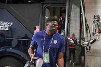 KANSAS CITY, KS - JULY 15: Sean Johnson #18 of the United States arriving at the stadium before a game between Martinique and USMNT at Children's Mercy Park on July 15, 2021 in Kansas City, Kansas.