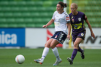 MELBOURNE, AUSTRALIA - DECEMBER 18: Jodie TAYLOR of the Victory passes the ball during the round 7 W-League match between the Melbourne Victory and the Perth Glory at AAMI Park on December 18, 2010 in Melbourne, Australia. (Photo Sydney Low / asteriskimages.com)