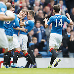 David Templeton scores the second goal for Rangers and celebrates with Ian Black