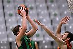 Liga ENDESA 2020/2021. Game: 11.<br /> Club Joventut Badalona vs Valencia Basket: 80-91.<br /> Joel Parra vs Nikola Kalinic.