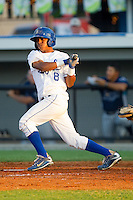 Luis Piterson #8 of the Burlington Royals follows through on his swing against the Princeton Rays at Burlington Athletic Stadium July 11, 2010, in Burlington, North Carolina.  Photo by Brian Westerholt / Four Seam Images