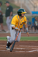 AZL Athletics shortstop Joseph Pena (5) starts down the first base line during an Arizona League game against the AZL Giants Black at the San Francisco Giants Training Complex on June 19, 2018 in Scottsdale, Arizona. AZL Athletics defeated AZL Giants Black 8-3. (Zachary Lucy/Four Seam Images)