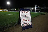 Beware of flying footballs sign during Southend United vs Swindon Town, Sky Bet EFL League 1 Football at Roots Hall on 22nd November 2016