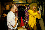 'HEN PARTY', CANDY DU BARRY, DRAG ARTIST, IN HIS DRESSING ROOM WITH HIS ROAD MANAGER, PREPARING FOR SHOW, DUKE OF CAMBRIDGE PUB, SOUTH LONDON