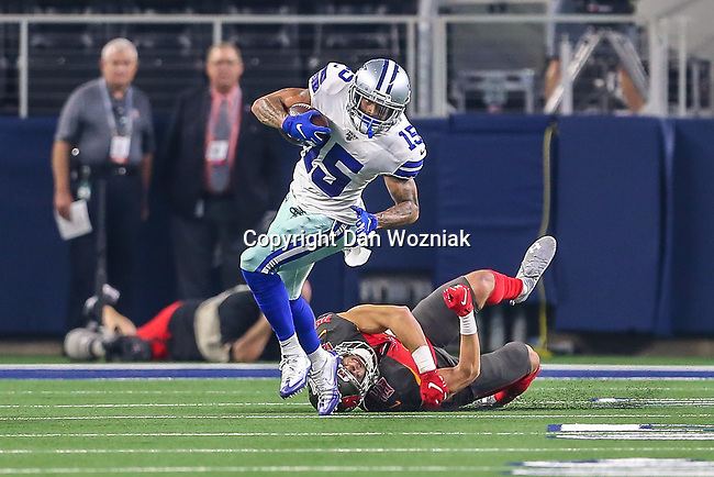 Dallas Cowboys wide receiver Devin Smith (15) in action during the pre-season game between the Tampa Bay Buccaneers and the Dallas Cowboys at the AT & T Stadium in Arlington, Texas.