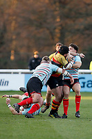Toby Hassell of Richmond Rugby is tackled by Danny Herriott of Blackheath Rugby during the English National League match between Richmond and Blackheath  at Richmond Athletic Ground, Richmond, United Kingdom on 4 January 2020. Photo by Carlton Myrie.
