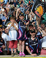 Young Exeter Chiefs' fans celebrate after winning the Premiership Rugby Final at Twickenham Stadium on Saturday 27th May 2017 (Photo by Rob Munro)
