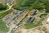 Pará State, Brazil. Aerial view of São Félix do Xingu showing charcoal burners.