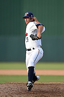 Fort Myers Miracle pitcher Todd Van Steensel (27) delivers a pitch during a game against the St. Lucie Mets on April 19, 2015 at Hammond Stadium in Fort Myers, Florida.  Fort Myers defeated St. Lucie 3-2 in eleven innings.  (Mike Janes/Four Seam Images)