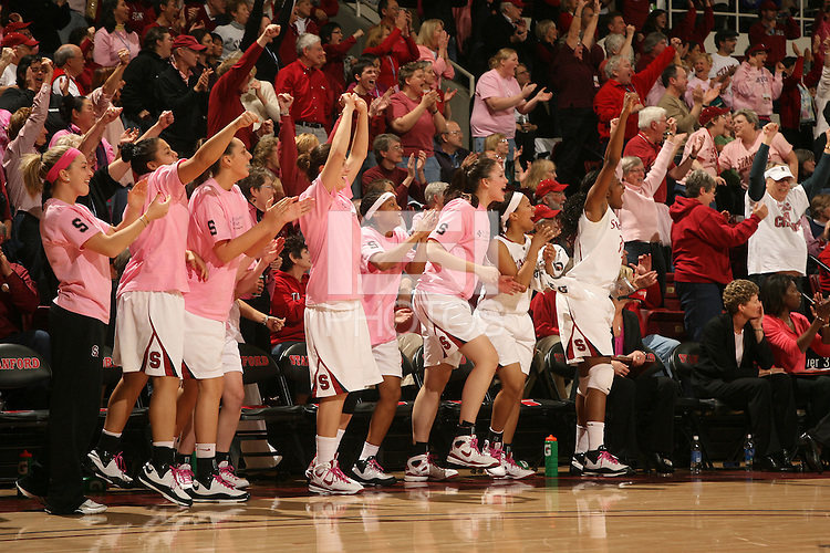 STANFORD, CA - FEBRUARY 14:  (L-R) Guard JJ Hones #10, guard Grace Mashore #1, forward Ashley Cimino #24, forward Michelle Harrison #5, guard Melanie Murphy #0, forward Sarah Boothe #42, guard Rosalyn Gold-Onwude #21, forward Nnemkadi Ogwumike #30, associate head coach Amy Tucker, and assistant coach Bobbie Kelsey of the Stanford Cardinal during Stanford's 58-41 win against the California Golden Bears on February 14, 2009 at Maples Pavilion in Stanford, California.