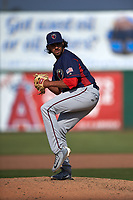 Lancaster JetHawks relief pitcher Justin Lawrence (25) delivers a pitch during a California League game against the Inland Empire 66ers at San Manuel Stadium on May 20, 2018 in San Bernardino, California. Inland Empire defeated Lancaster 12-2. (Zachary Lucy/Four Seam Images)