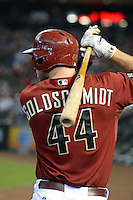 Arizona Diamondbacks first baseman Paul Goldschmidt (44) on deck during a game against the Washington Nationals at Chase Field on September 29, 2013 in Phoenix, Arizona.  Arizona defeated Washington 3-2.  (Mike Janes/Four Seam Images)