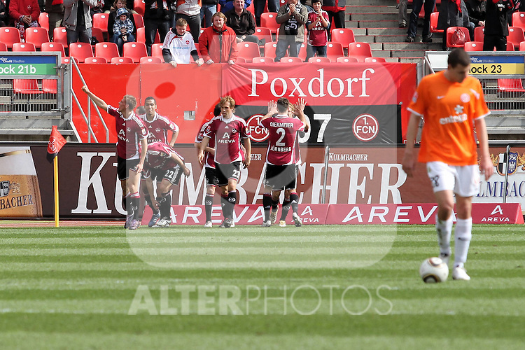 03.04.2010, EasyCredit Stadion, GER, Nuernberg, 1. FBL 09 10, 1. FC Nuernberg vs 1. FSV Mainz 05, im Bild Torjubel nach dem 1:0  Foto © nph / Becher
